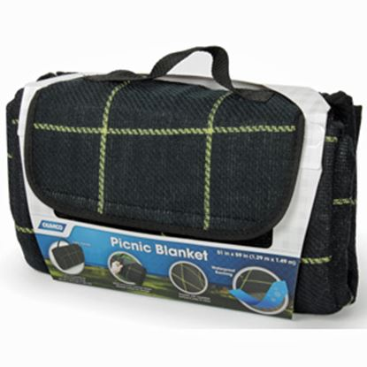 Picture of Camco  Fleece w/ Waterproof Backing Black & Yellow Plaid Picnic Blanket 42800 03-0720