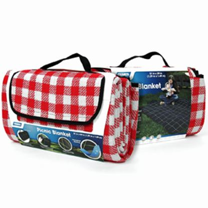 Picture of Camco  Fleece w/ Waterproof Backing Red & White Checkered Picnic Blanket 42801 03-0721