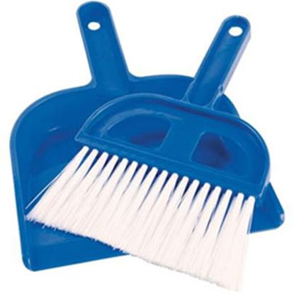 Picture of Camco  Blue Plastic Tent Wisk Broom w/ Dust Pan 51033 03-0726