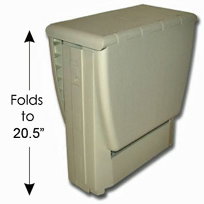 "Picture of B&R Plastics Magic Table 17""L x 12""W x 20-1/2""H Beige Plastic Folding Table 150-01BG 03-0984"