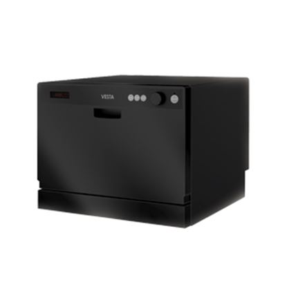 "Picture of Splendide Vesta (TM) 120V 17-1/4""H 6-Cycle Black Countertop Dishwasher  07-0494"