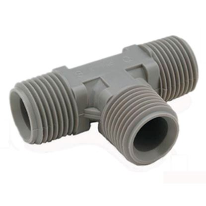 """Picture of QEST Qicktite (R) 3/4"""" MPT Gray Acetal Fresh Water Tee  10-3015"""