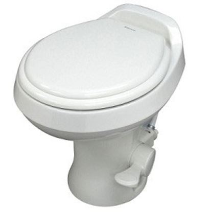 "Picture of Dometic 300 Series White 13-1/2"" Pedal Flush Permanent Toilet 302301671 12-0040"
