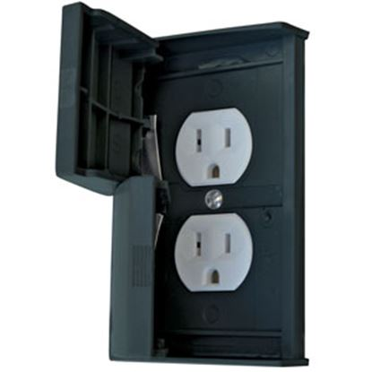 Picture of Diamond Group  Black Self-Closing Switch Plate Cover w/ Receptacle 52522SCREC 15-8381