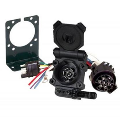 Picture of Hopkins Multi Tow (R) 4-Wire Flat & 7-Blade RV Trailer Wiring Kit w/ Bracket 47180 19-4279