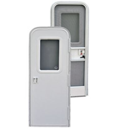 "Picture of AP Products  Polar White w/WH Window Frame RH 24""x68"" Radius Entry Door 015-217708 20-4015"