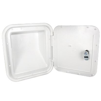 """Picture of JR Products  Polar White 7""""RO Lockable Shroud Back Gas Fill Access Door 31102-A 22-0557"""