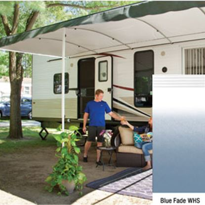 "Picture of Lippert Solera Destination Blue Fade Vinyl 16'L X 9' 8""Ext Patio Awning w/White Solera Shield V000334861 90-2165"