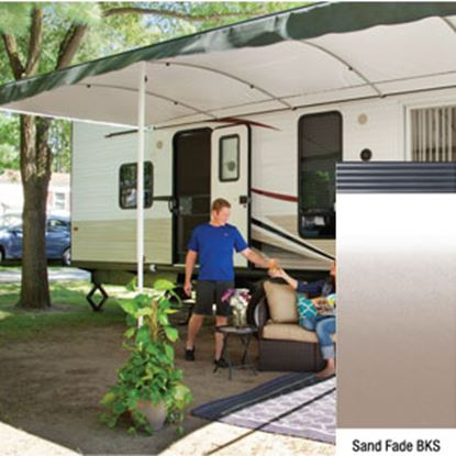 "Picture of Lippert Solera Destination Sand Fade Vinyl 16'L X 9' 8""Ext Patio Awning w/Black Solera Shield V000334873 90-2171"