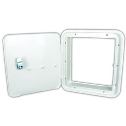 """Picture of JR Products  Polar 6-7/8""""RO White Lockable Multi-Purpose Hatch Access Door w/o Back 21102-A 92-9867"""
